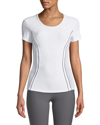 X BY GOTTEX Piped Mesh-Side Tee in White