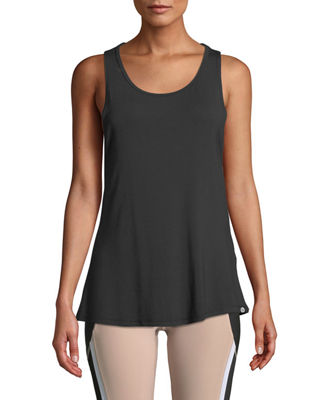 X BY GOTTEX Twisted Open-Back Tank Top in Black