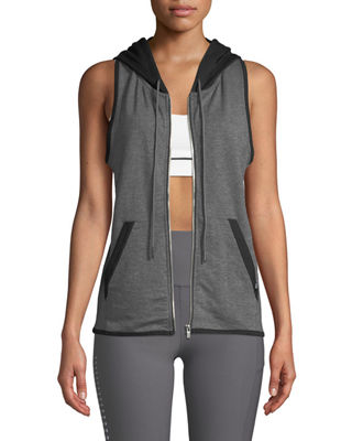 X BY GOTTEX Hooded Zip-Front Vest in Gray