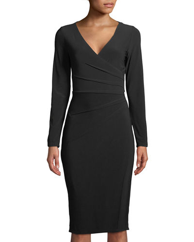 London Times Long-Sleeve Pleated-Side Bodycon Dress