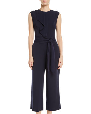 LONDON TIMES Feather Crepe Ruffled Sleeveless Tie-Waist Cropped Jumpsuit in Navy