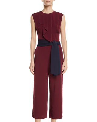 LONDON TIMES Feather Crepe Ruffled Sleeveless Tie-Waist Cropped Jumpsuit in Red