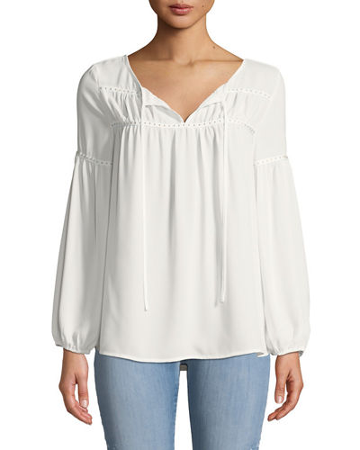Love Scarlett Long-Sleeve Dome-Studded Ribbon Blouse