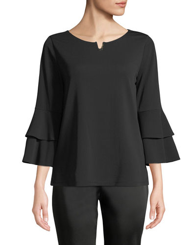 Iconic American Designer Notch-Neck Casual Top with Ruffled