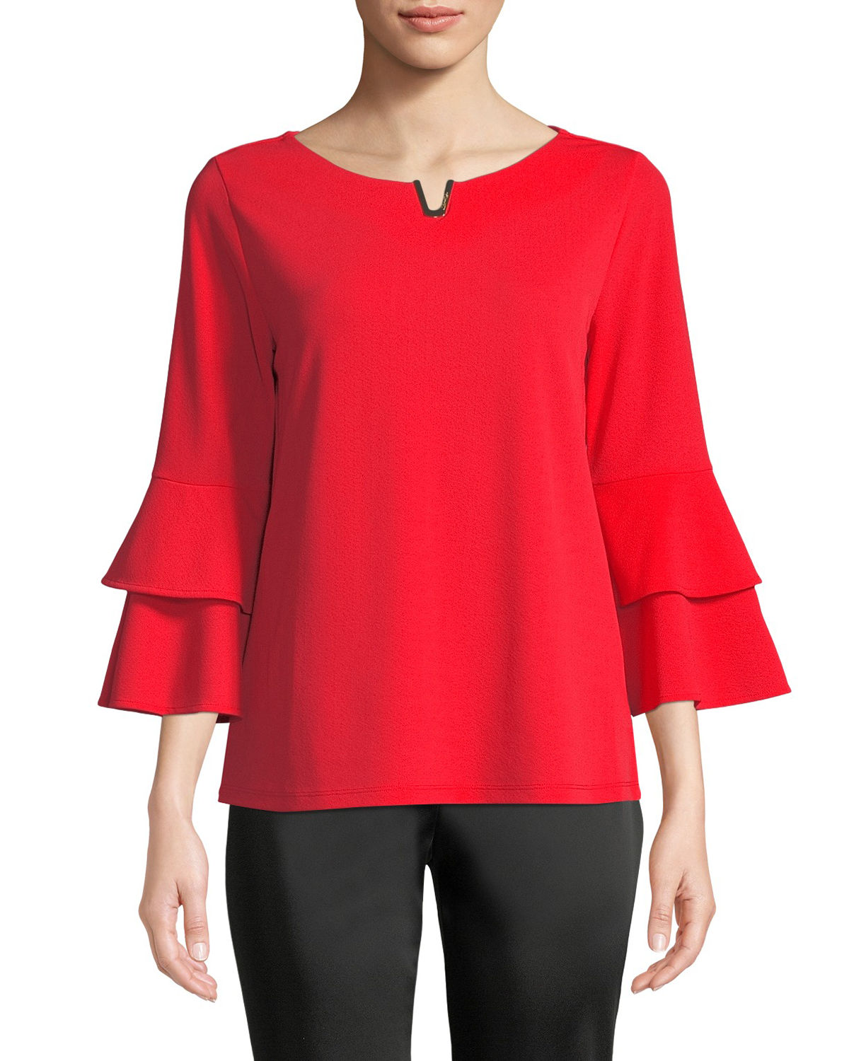 Notch-Neck Casual Top with Ruffled Cuffs