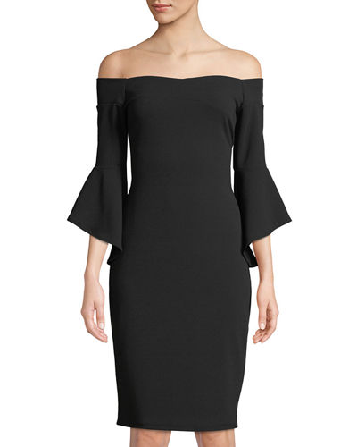 Off-The-Shoulder Bell-Sleeve Sheath Dress