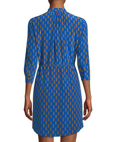 Freya Silk Split-Neck Mini Dress