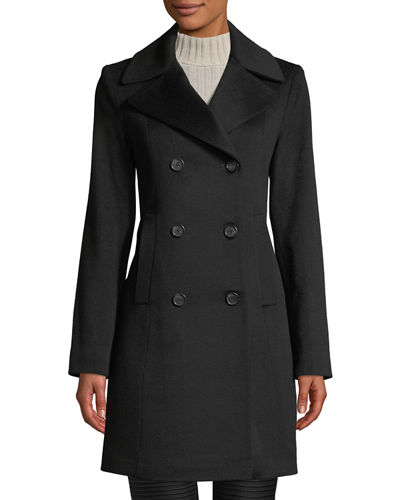 Oversized-Collar Double-Breasted Pea Coat