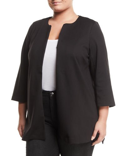 3/4-Sleeve Crewneck Ponte Topper  Plus Size