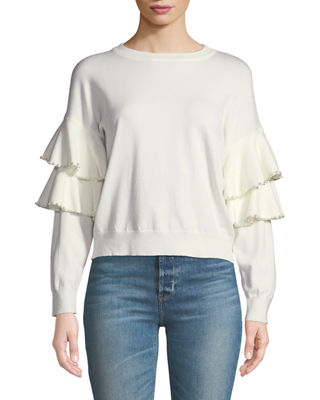 STELLAH Pearly-Trimmed Ruffle-Sleeve Sweater in White