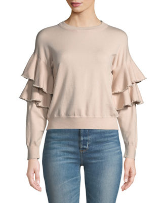 STELLAH Pearly-Trimmed Ruffle-Sleeve Sweater in Pink