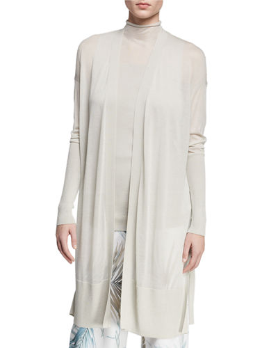 Open-Front Long-Sleeve Semisheer Voile Duster Cardigan
