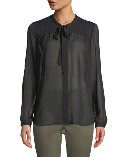 NYDJ Tie-Neck Button-Front Blouse