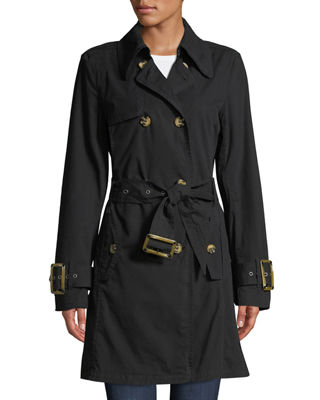 RAISON D'ETRE Double-Breasted Trench Topper Jacket in Black