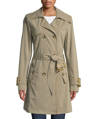 RAISON D'ETRE Double-Breasted Trench Topper Jacket in Brown