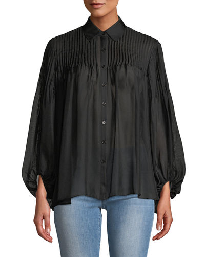 Leon Max Pleated-Shoulder Button-Front Blouse