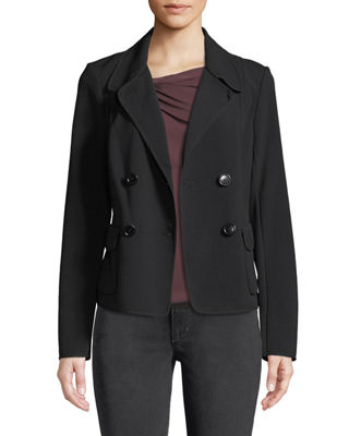 LEON MAX Double Breasted Patch-Pocket Blazer Jacket in Black