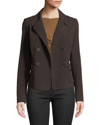 LEON MAX Double Breasted Patch-Pocket Blazer Jacket in Dark Brown