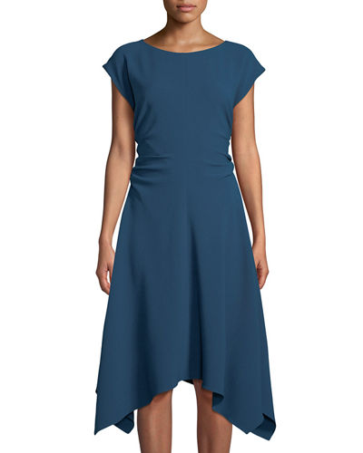 Ruched-Side Cap-Sleeve Handkerchief A-Line Dress