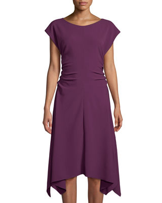 Ruched-Side Cap-Sleeve Handkerchief A-Line Dress in Plum