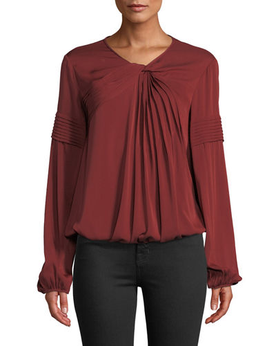 Leon Max Twist-Neck Pleated Silk Blouse