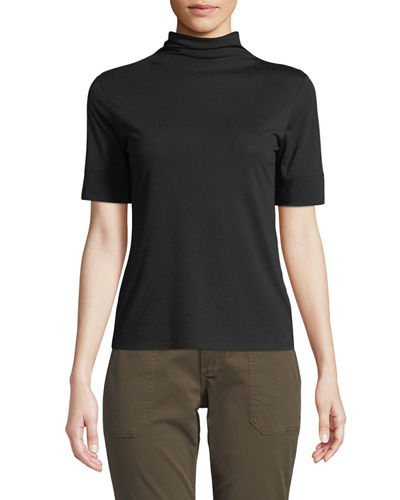 Cowl-Neck Short-Sleeve Top