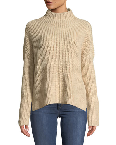 Mock-Neck Drop-Shoulder Sweater