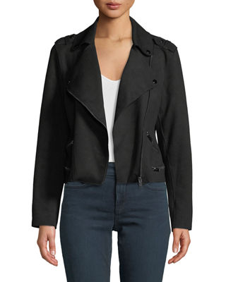 ANNA CAI Faux-Suede Long-Sleeve Moto Jacket in Black