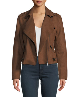 ANNA CAI Faux-Suede Long-Sleeve Moto Jacket in Chocolate