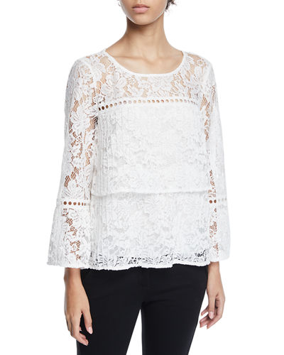 Laundry By Shelli Segal Tiered Lace Flare-Sleeve Blouse