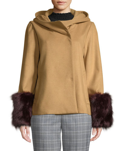 Laundry By Shelli Segal Cowl-Neck Jacket with Faux-Fur