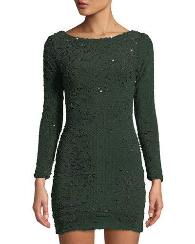 06987c65db Dress The Population Lola Long-Sleeve Scoop-Back Sequin Mini Cocktail Dress