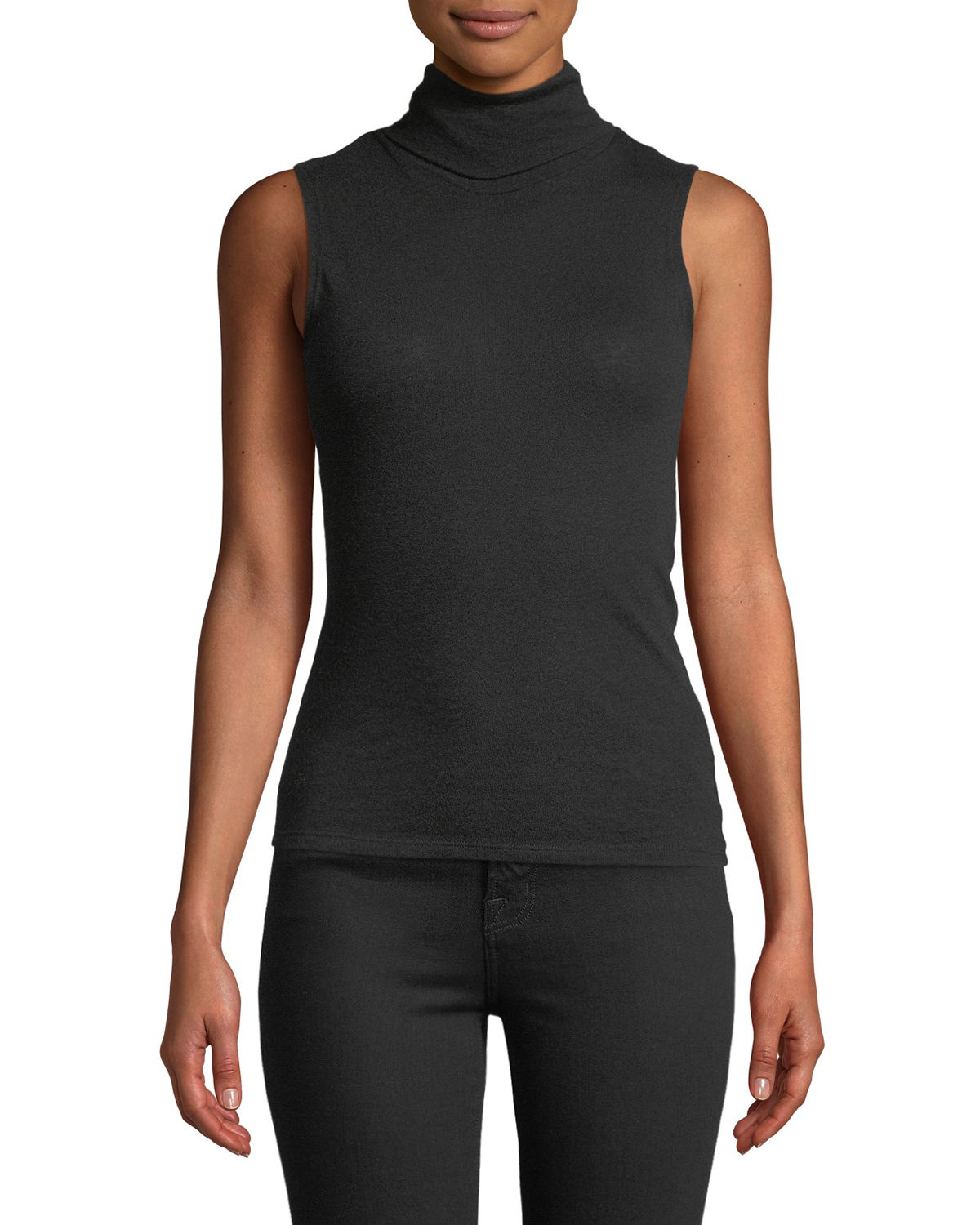 Majestic CASHMERE SLEEVELESS TURTLENECK TOP