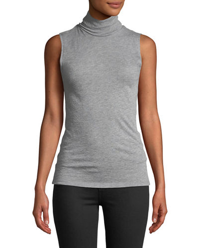 Cashmere Sleeveless Turtleneck Top