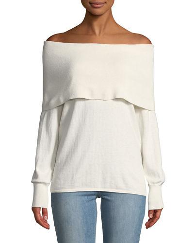 Joie Bade Off-Shoulder Overlay Sweater