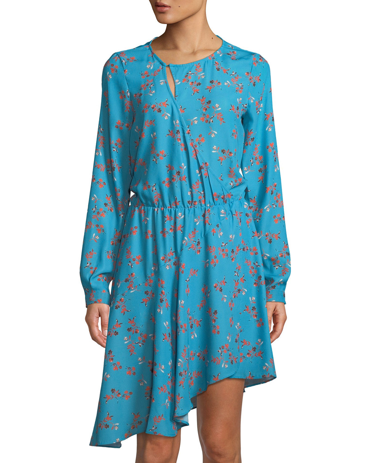 Long-Sleeve Printed Drape Dress