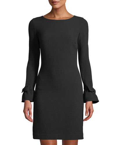 Bow-Cuff Crepe Sheath Dress