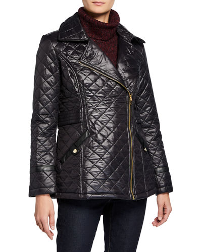 Asymmetrical-Zip Quilted Jacket