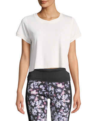 SPLENDID STUDIO Core Cropped Boxy Active Tee in Pink