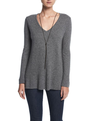 Neiman Marcus Cashmere Collection Cashmere V-Neck Pullover w/