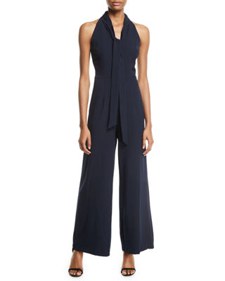 Sleeveless Tie-Neck Wide-Leg Jumpsuit, Navy