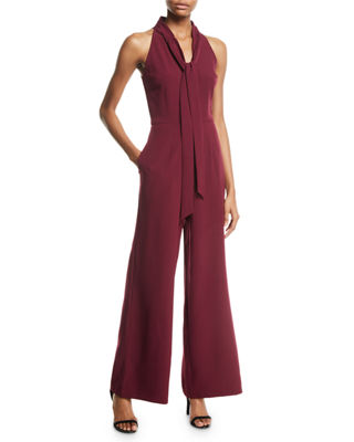 Sleeveless Tie-Neck Wide-Leg Jumpsuit, Burgundy