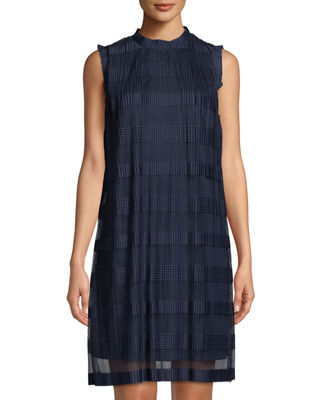 Striped Sleeveless Pleated Chiffon Shift Dress, Navy