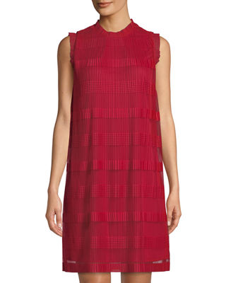 Striped Sleeveless Pleated Chiffon Shift Dress, Red