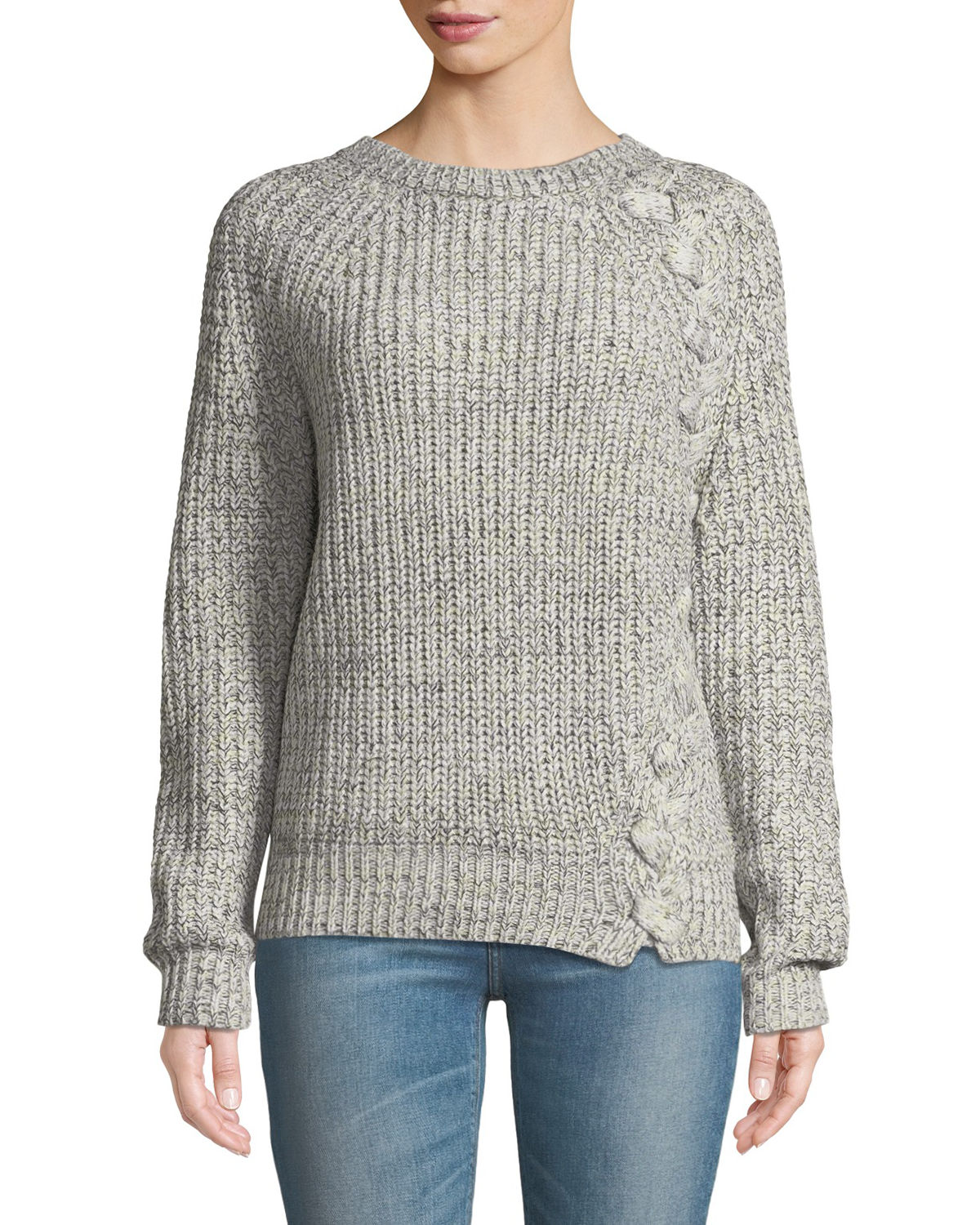 Elisa Ribbed Pullover Sweater W/Braid Detail