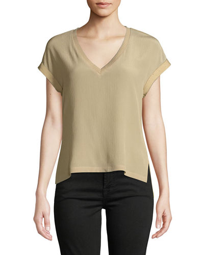 V-Neck Crinkled Chiffon-Front Tee