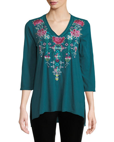 Peta Floral-Embroidered Cotton Tunic Top