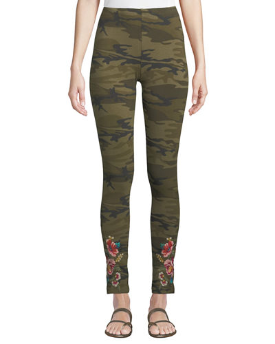 Vernazza Floral-Embroidered Cotton Leggings