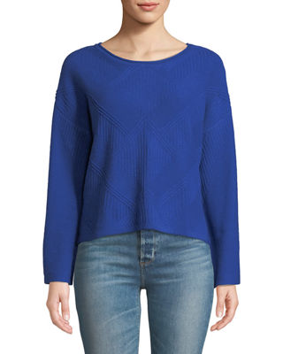 QUINN Textured Flare-Sleeve Crop Sweater in Bright Blue