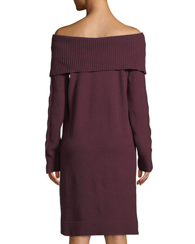 Marilyn-Collar Off-the-Shoulder Long-Sleeve Sweaterdress